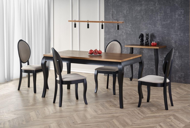 Stół drewniany na czarnych nogach rozkładany 160x90cm WINDSOR